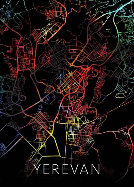 Wall Art - Mixed Media - Yerevan Armenia Watercolor City Street Map Dark Mode by Design Turnpike