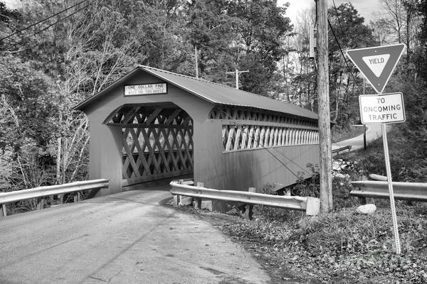 Photograph - Yield At The Chiselville Covered Bridge Black And White by Adam Jewell
