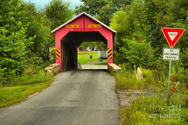 Photograph - Yield At The Saville Covered Bridge by Adam Jewell