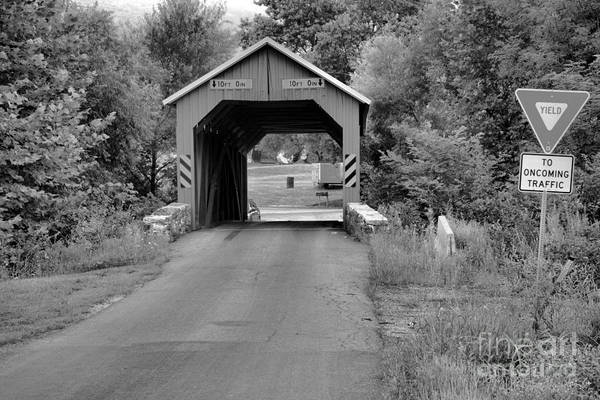 Photograph - Yield At The Saville Covered Bridge Black And White by Adam Jewell