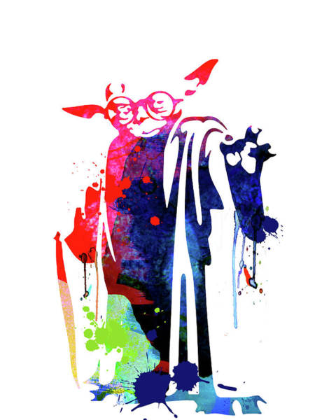 Wall Art - Mixed Media - Yoda Wearing Classes Watercolor by Naxart Studio
