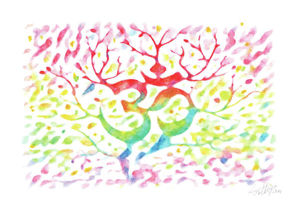Bugling Drawing - Yoga Mantra Om Tree-watercolor,colourful,dazzling,impressionismhandmade,hand-painted,greeting Card by Artto Pan