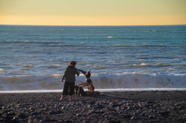 Photograph - Yoga On  Black Sands Beach - Shelter Cove California by Bill Cannon