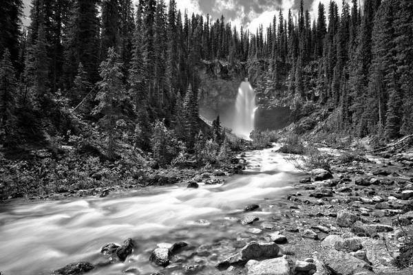 Photograph - Yoho Laughing Falls Canyon Black And White by Adam Jewell