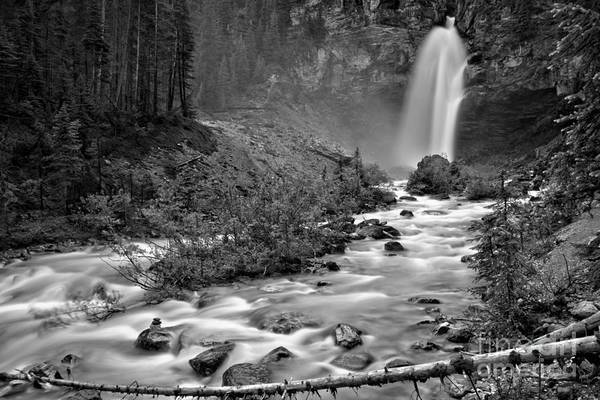 Photograph - Yoho Laughing Falls In The Woods Black And White by Adam Jewell