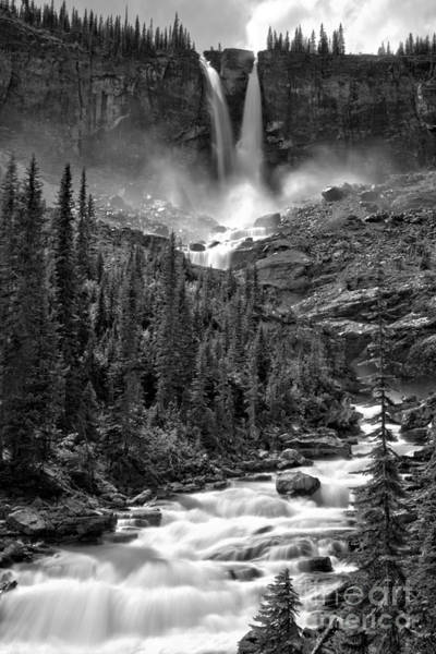 Photograph - Yoho Twin Falls Extended Portrait Black And White by Adam Jewell