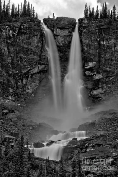 Photograph - Yoho Twin Falls Summer 2019 Black And White by Adam Jewell