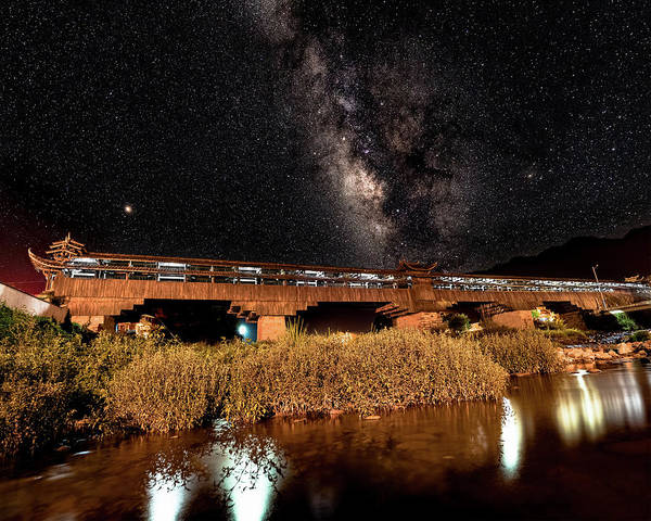 Photograph - Yonghe Bridge Milky Way by William Dickman