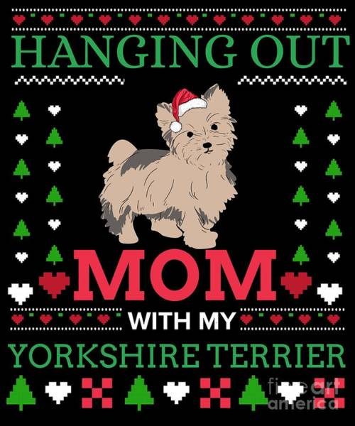 Ugly Digital Art - Yorkshire Terrier Ugly Christmas Sweater Xmas Gift by TeeQueen2603