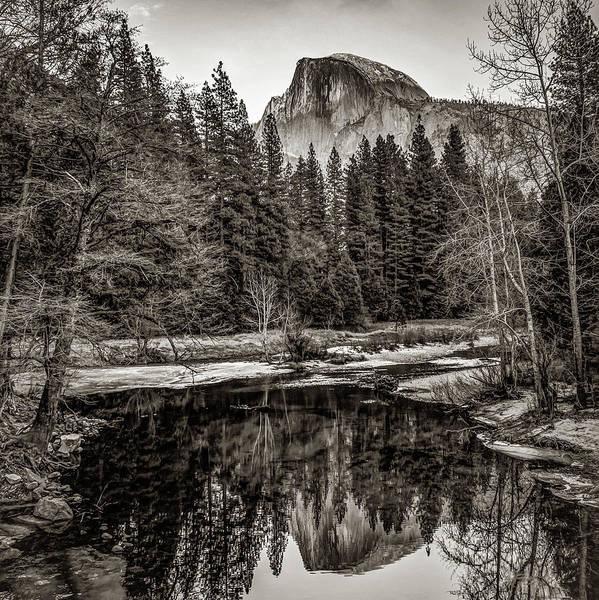 Photograph - Yosemite Half Dome Mountain Landscape Reflection - Sepia Square Format by Gregory Ballos