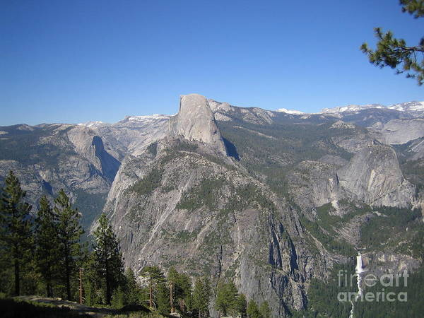 Photograph - Yosemite National Park Half Dome And Twin Waterfalls View From Glacier Point by John Shiron