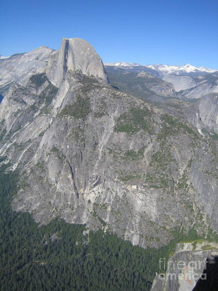 Photograph - Yosemite National Park Half Dome Rock Snow Capped Mountain Range View From Glacier Point by John Shiron