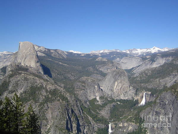 Photograph - Yosemite National Park Half Dome Twin Waterfalls Snow Capped Mountains Clear Blue Sky by John Shiron