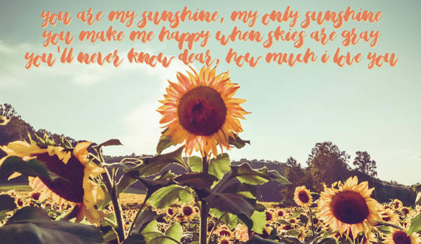 Photograph - You Are My Sunshine #sunflowers #inspirational by Andrea Anderegg