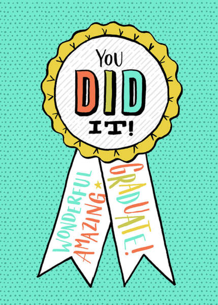 Painting - You Did It Award Grad Card by Jen Montgomery