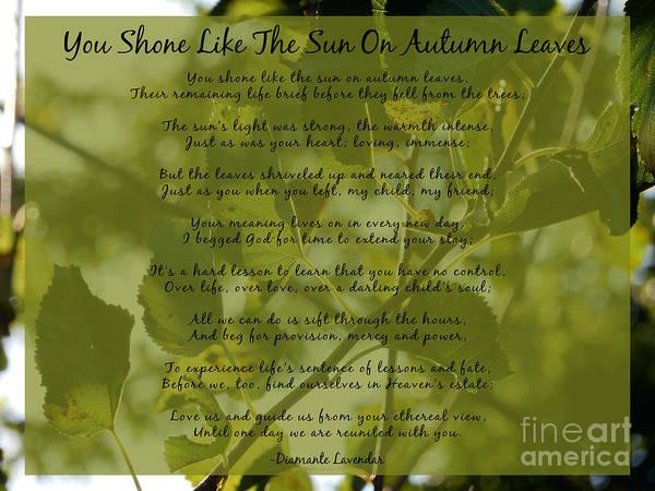 Digital Art - You Shone Like The Sun On Autumn Leaves Poem by Diamante Lavendar