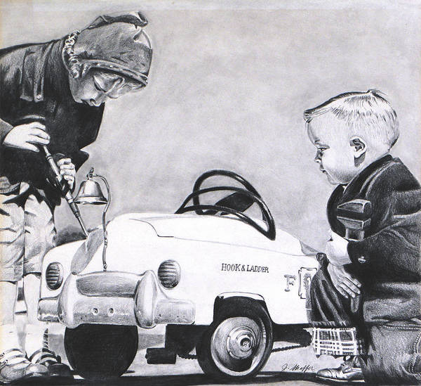 Pump Drawing - Young Auto Mechanic by John Shaffer