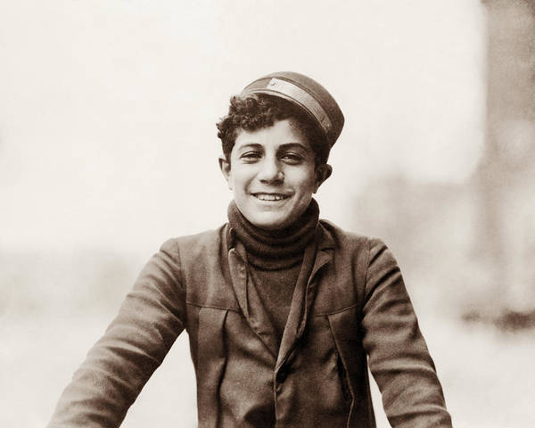 Wall Art - Photograph - Young Bike Messenger - 1912 - Lewis Hine by War Is Hell Store