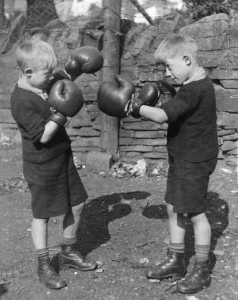 Boxing Photograph - Young Boxing Twins by Fox Photos