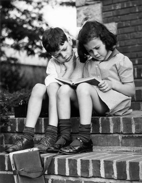Reading Photograph - Young Boy & Girl Reading A Book Outdoors by George Marks