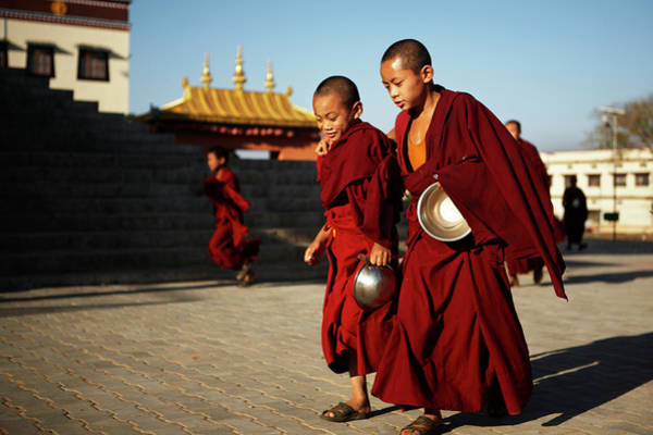 Shaved Head Photograph - Young Buddhist Monks Going For Lunch by Mitchell Kanashkevich