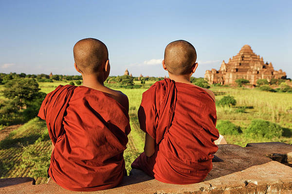 Shaved Head Photograph - Young Buddhist Monks by Hadynyah