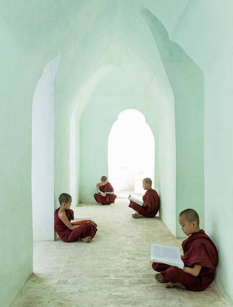 Myanmar Wall Art - Photograph - Young Buddhist Monks Reading In Temple by Martin Puddy