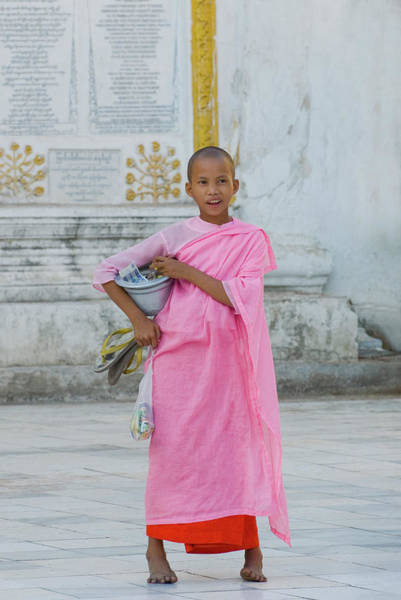 Toothy Smile Photograph - Young Buddhist Nun In Yangon Myanmar by Nancy Brown/bass Ackwards