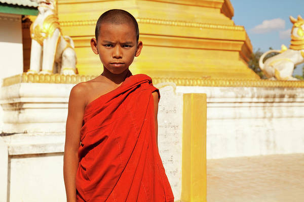 Shaved Head Photograph - Young Burmese Monk In Myanmar by Danielbendjy