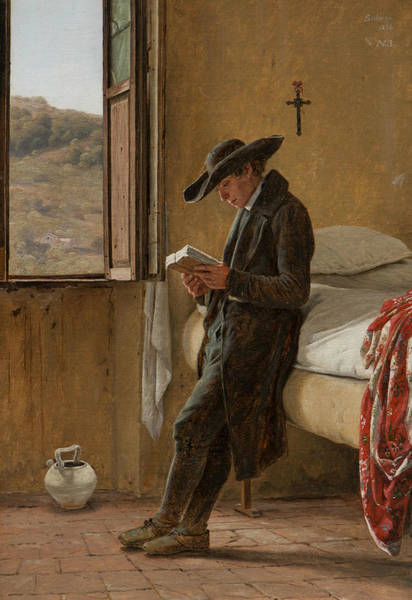Painting - Young Clergyman Reading by Martinus Rorbye