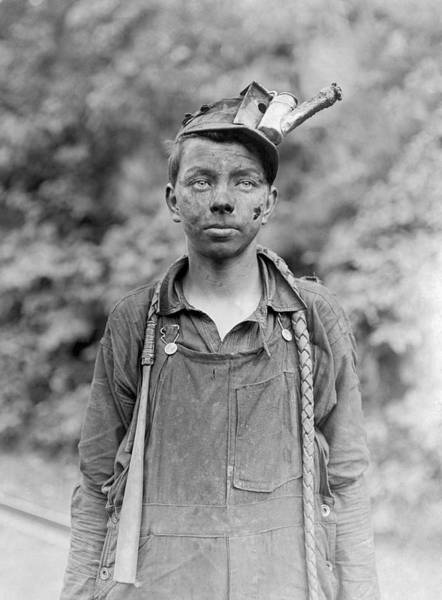 Wall Art - Photograph - Young Coal Miner - West Virginia - 1908 by War Is Hell Store