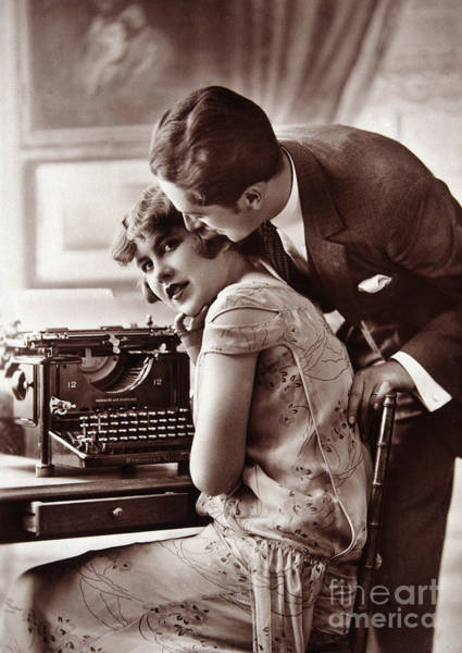 Wall Art - Photograph - Young Couple And Typewriter by European School