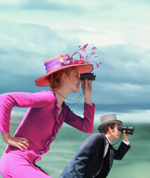 Top Hat Photograph - Young Couple In Formal Wear Looking by Gandee Vasan