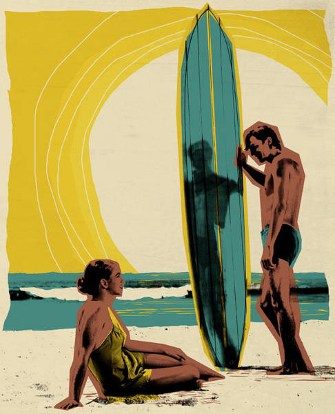 Heterosexual Couple Digital Art - Young Couple On Beach, Man Holding by Joao Canziani