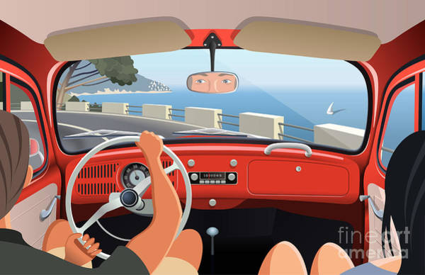 Steering Wheel Wall Art - Digital Art - Young Couple Tavelling On Coast Road In by Nikola Knezevic