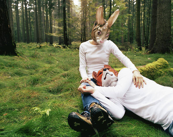 Wall Art - Photograph - Young Couple Wearing Rabbit And Fox by Co2