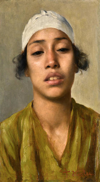 Wall Art - Painting - Young Egyptian Girl by Franz Kosler