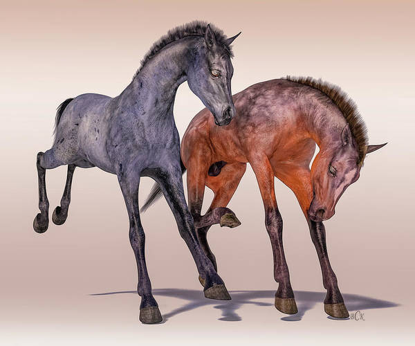 Wall Art - Digital Art - Young Equine Pair by Betsy Knapp