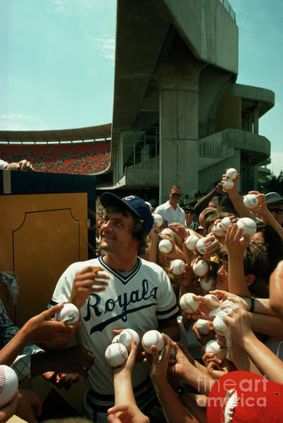 Photograph - Young Fans Hold Up Baseballs For Royals Star George Brett To Sign by Ted Spiegel