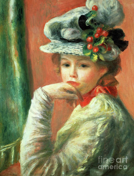 Wall Art - Painting - Young Girl In A White Hat By Renoir by Pierre Auguste Renoir