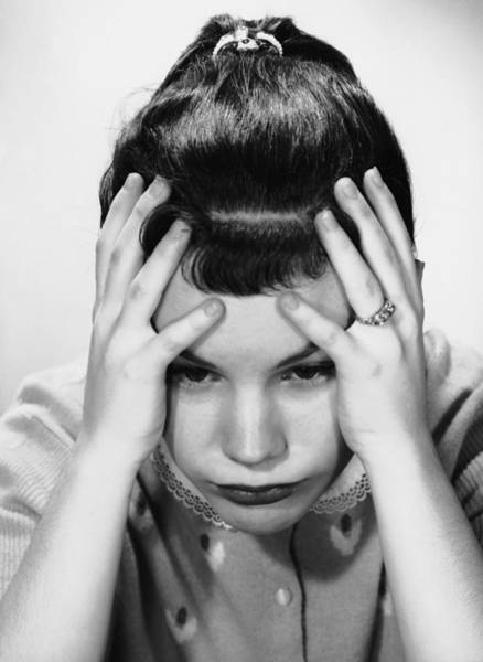 Gesturing Photograph - Young Girl In Deep Thought by George Marks