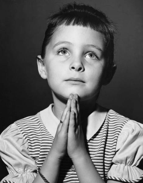Gesturing Photograph - Young Girl Saying Prayer by George Marks