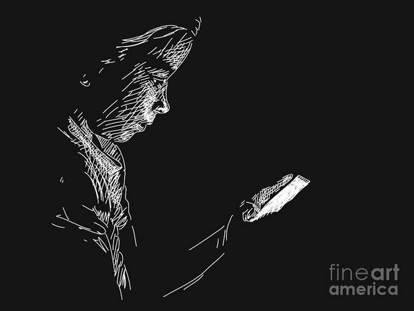 Darkness Digital Art - Young Girl Using Smart Phone In by Art Of Line