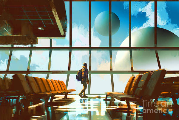 Airport Wall Art - Digital Art - Young Girl Walking In Airport Looking by Tithi Luadthong