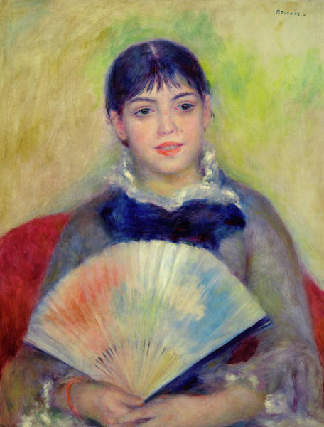 Wall Art - Painting - Young Girl With A Fan, 1880 by Pierre-Auguste Renoir