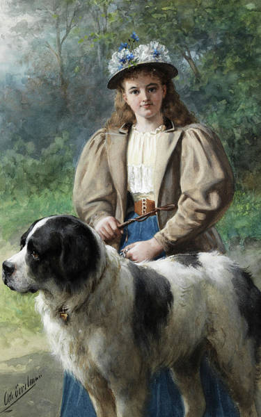 Elegant Dog Painting - Young Girl With St Bernard by Otto Eerelman