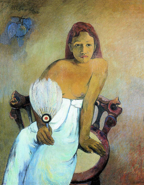 Wall Art - Painting - Young Girl With Fan - Digital Remastered Edition by Paul Gauguin