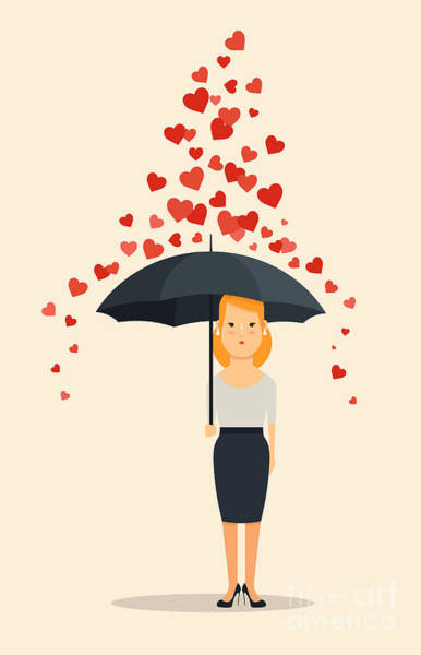 Wall Art - Digital Art - Young Girl With Umbrella Standing Under by Stickerama