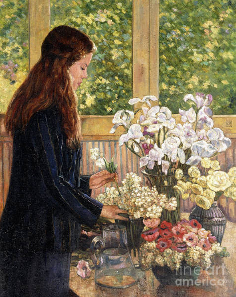 Wall Art - Painting - Young Girl With Vases Of Flowers by Theo van Rysselberghe