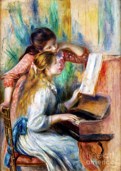 Painting - Young Girls At The Piano By Renoir by Auguste Renoir